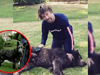 Jamiroquai - Jay Kay playing with adorable Alsatian in the garden